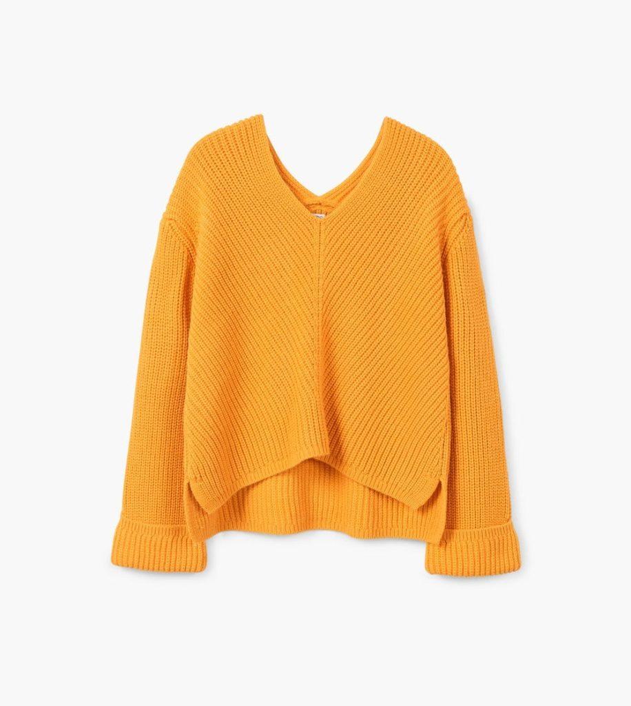 Gelber Pullover V-Ausschnitt | Mango