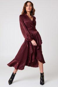 Wrap Over Satin Kleid | NA-KD